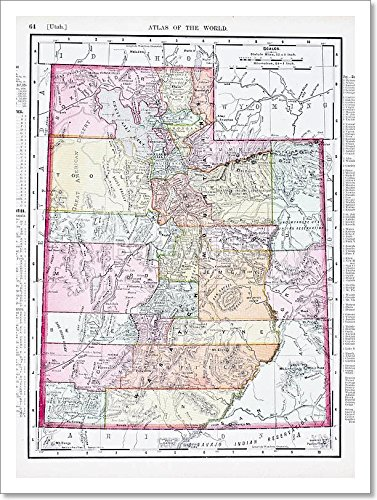 Antique Vintage Color Map Of Utah, Usa Paper Print Wall Art (16 in. x 12 in.) (Antique Utah)