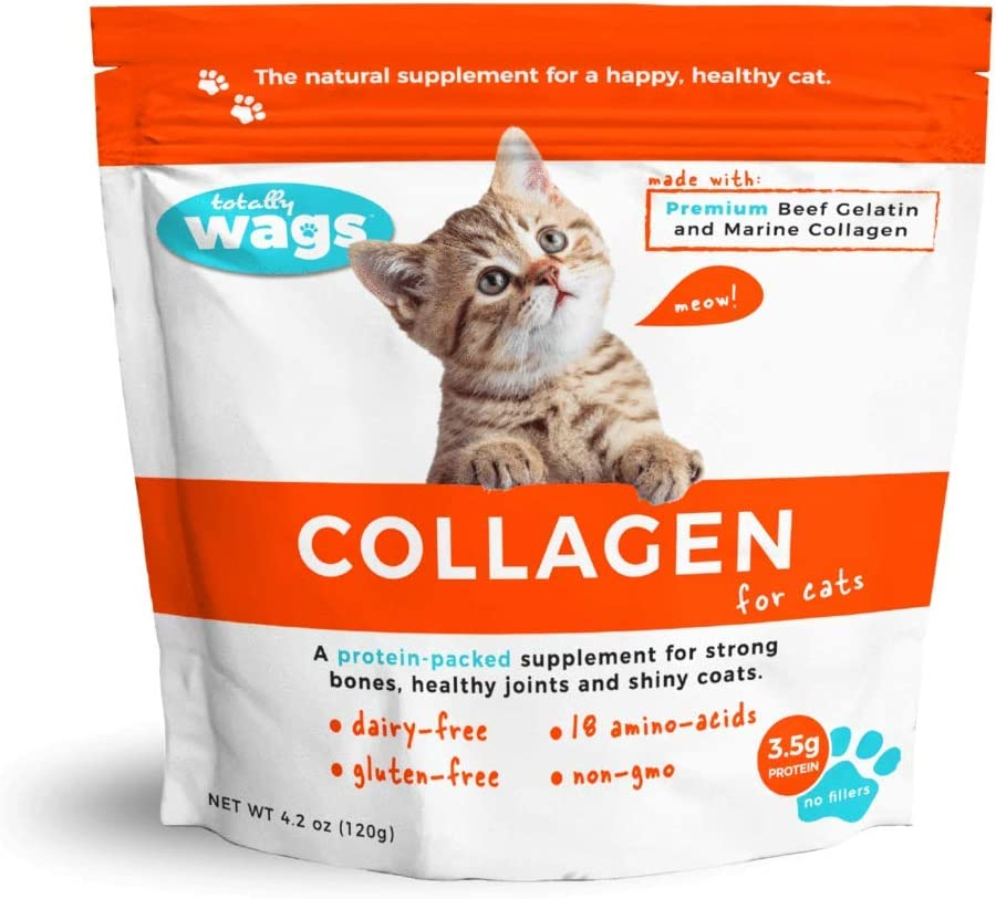 Totally Wags Collagen for Cats: Pet Superfood, All Natural Food Topper; Joint, Fur, Digestive Support