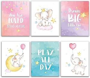 Elephant Inspirational Decor, Baby Girl Nursery Wall Art Prints, Elephant Nursery Wall Decor, Dream Big Little One, Elephants Wall Art Decorations for Kids Nursery, Girl's Room (8