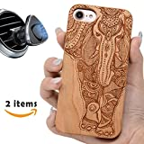 wood iphone 6 case made in usa - iPhone 7 6 8 Plus Case Wood, iProductsUS iPhone 6 Plus Case Engraved Elephant, Built-in Metal Plate, Covered TPU Rubber iPhone Shockproof Case (5.5