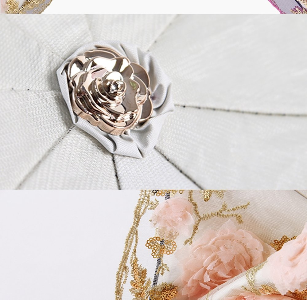 Honeystore Lace Parasol Decoration Bridal Shower Vintage Umbrellas for Wedding 3 Fold Beige by Honeystore (Image #5)