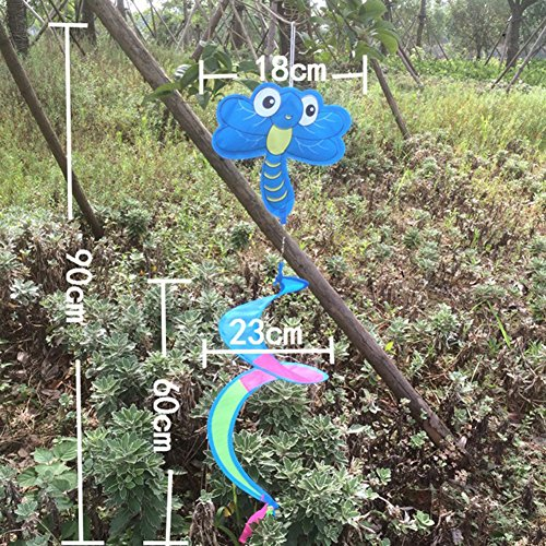 (OTGO 1Pc Animal Spiral Windmill Colorful Wind Spinner for Your Lawn Yard Garden Party Decoration (Pattern:Dragonfly))