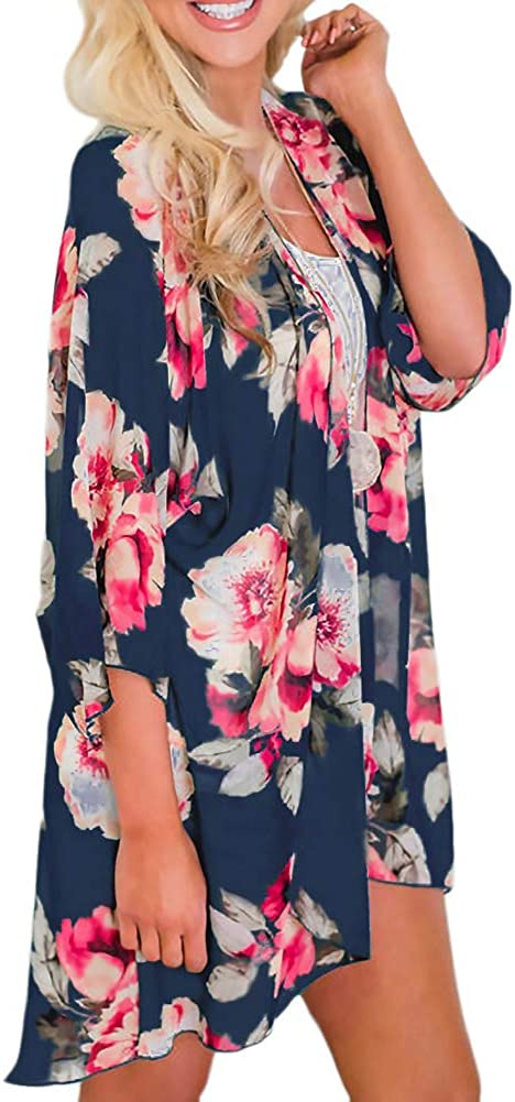 Zexxxy Floral para Mujer Cubierta de Playa Ups Chiffon Summer Kimono Cardigans 3//4 Tops de Manga