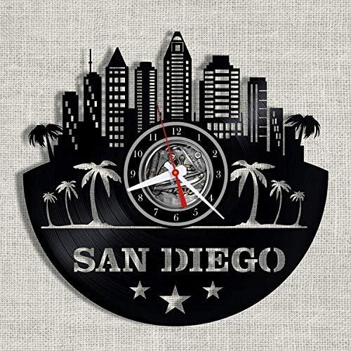 SKYTY 3D Amerikanischen Stadtbild San Diego Schallplatte Uhr Hohl Vinyl Kunst Uhr Büro Wohnzimmer Büro Dekoration Uhr Mit Led 12 Zoll