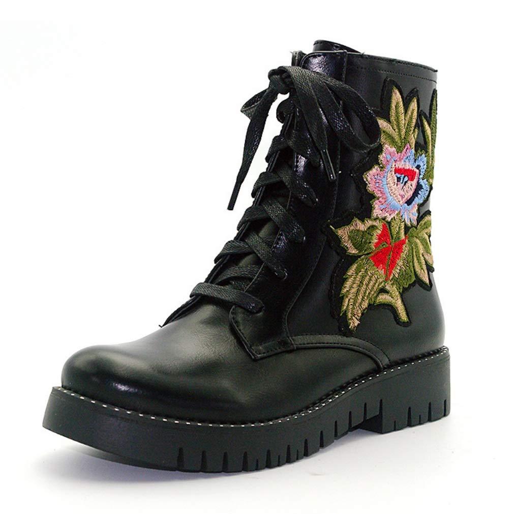 SHANGWU Frauen Frauen Frauen Damen Klassische Lace-Up Martin Stiefel Blaumendruck Stiefel Pflanze PatternLow-Heel Lässige Winter Military Combat Stiefeletten Größen 408c5a