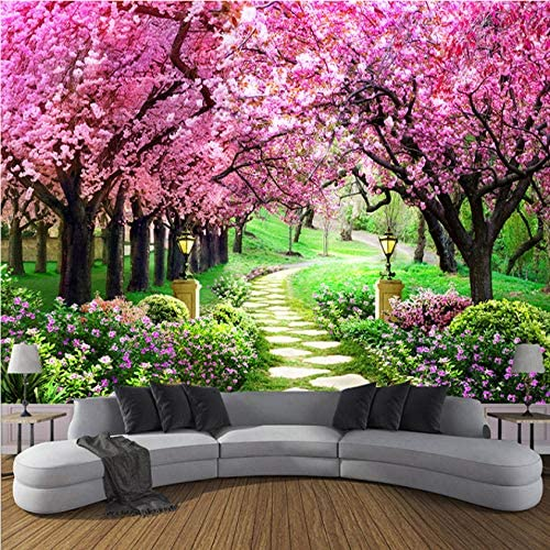 3D Photo of Romantic Cherry Floral Wall Mural