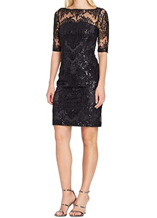 fbb9cd28be0e Image Unavailable. Image not available for. Color: Tahari by ASL Womens  Petite Sequin Sheath Dress Blacks