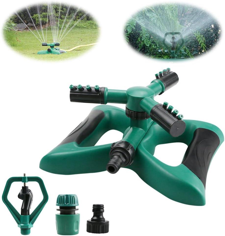 Yokunat 360° - Sistema de rociadores de Agua para jardín con 3 Brazos giratorios con 2 Modos de Boquilla Verde