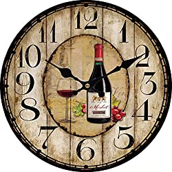 Toright Decro Home Round Wall Clock Red Wine Bottle Pattern-15.7