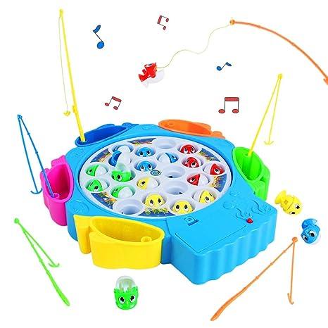 Juegos De Mesa De Pesca Musical 21pcs Peces Juguete Con 6 Canas De