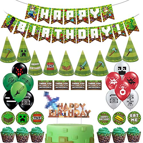 Minecraft Cake Supplies (Pixel Style Gamer Party Supplies, Miner Theme Birthday Party Favors and Decors Set Includes Banner - 20 Balloons - Cake Topper - 24 Cupcake Toppers - 9 Party Hats -)
