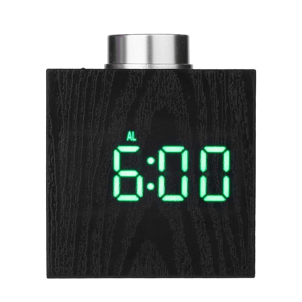 Digital LED Alarm, YiMiky Temperature LED Display Wood Grain Clock Adjustable Brightness Electronic Alarm Clock Snooze Battery Backup Wood Digital Clock for Students Adults - Green