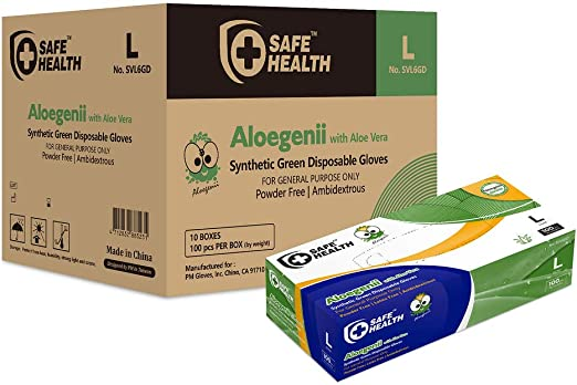 SafeHealth - Aloegenii Synthetic Green Vinyl Gloves with ALOE VERA, HD 5.5 mil, Case of 1000, Large, Disposable, Powder-Free, Latex-Free, General Use, Cleaning & Food Service, Gardening
