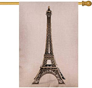 Musesh Large Garden Flag, Garden Flag Vintage Seasonal Outdoor Flag 28X40Inch Eiffel Tower Statue Isolated White Background Burlap Cute Yard Decorations for Outdoor Lawn Yard Decor Flag