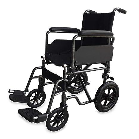 Mobiclinic Silla de Ruedas de Acero S230 Plegable, de Paseo, Manual, para Mayores, para Discapacitados, con Reposapiés y Reposabrazos Extraíbles, ...