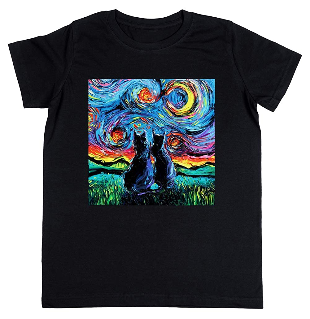 camioneta Gogh Gatos - Gato Niños Unisexo Niño Niña Camiseta ...