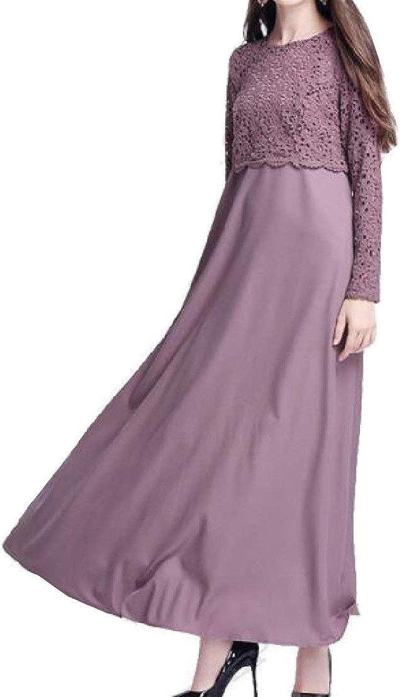 Hadudu Womens Arab Lace Muslim Abaya Pure Color Long Sleeve Dress