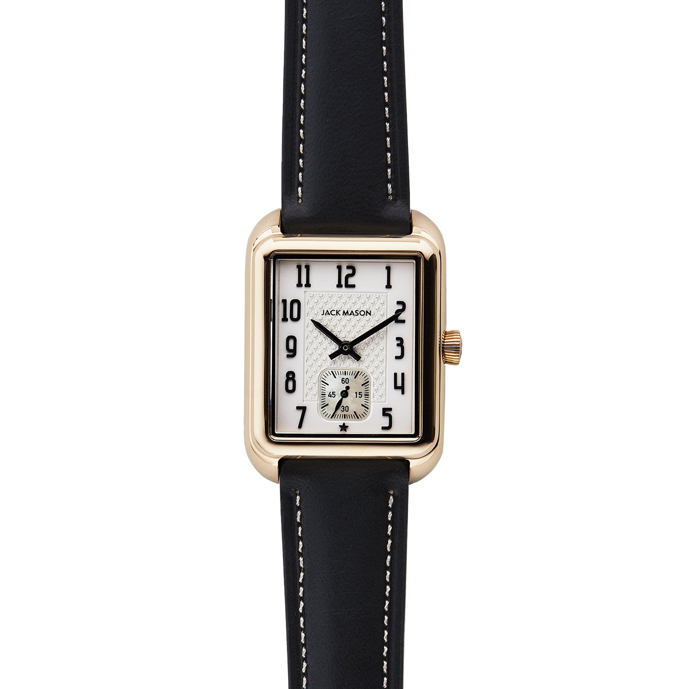 Jack Mason Issue No 2 Yellow Gold Sub Second White Dial Black Leather Strap