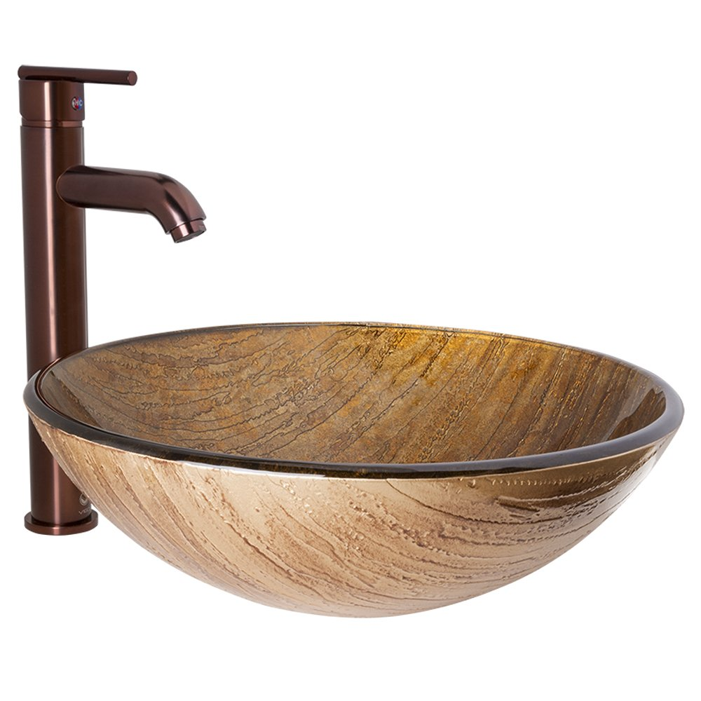 VIGO Amber Sunset Glass Vessel Bathroom Sink and Seville Vessel Faucet with Pop Up, Oil Rubbed Bronze
