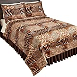 Collections Etc Safari Animal Print Fleece Coverlet, Brown, Full/Queen
