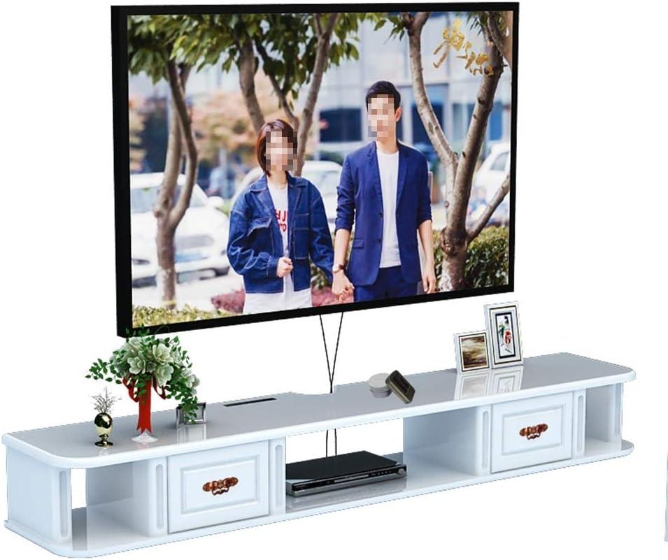 FJFSC 家庭用家具に適した、壁掛けテレビキャビネット浮動テレビコンソールシェルフ浮動シェルフウォールテレビキャビネットウォール収納棚、 (色 : 白い, サイズ : 150x24x16cm)