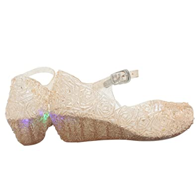 6340c93a77e9 Jelly Sandal for Girls with LED Light Heel Princess Girls  Sparkle Dress Up  Cosplay Heel