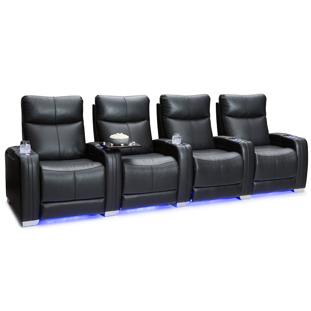 Seatcraft Solstice Leather Home Theater Seating with Power Lumbar, Recline, and Headrest (Row of 4, Black) by Seatcraft