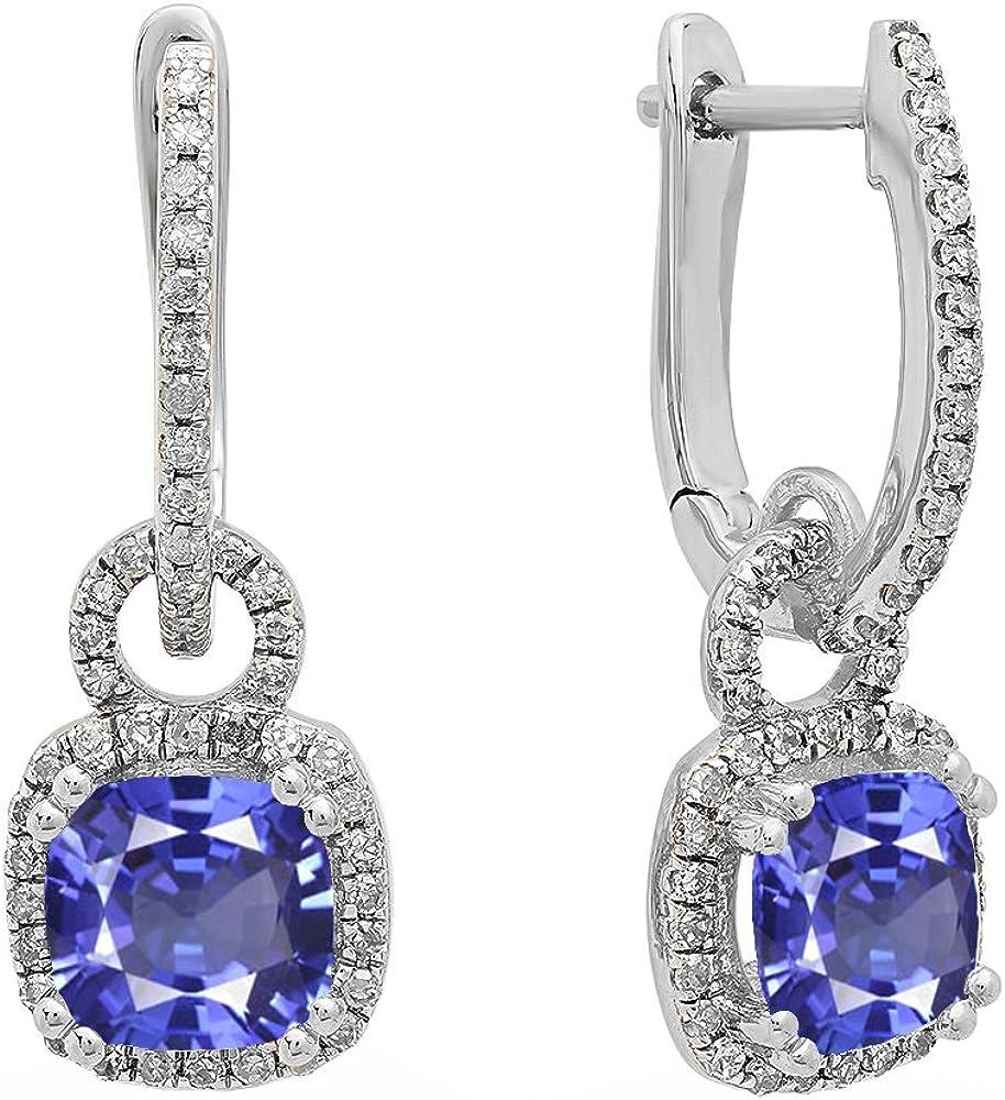 Pendientes colgantes de oro blanco de 14 quilates de 6 mm cada cojín con piedras preciosas y diamantes blancos redondos para mujer