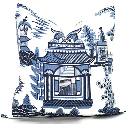 Blue and White Nanjing Decorative Pillow Cover made with Schumacher designer fabric.