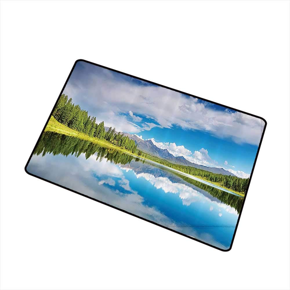 Non-Slip Door mat Lakehouse Decor Collection Lake and Reflection Scene at The Skirts of Altai Mountain Covered with Spring Forest Picture W35 xL47 Machine wash/Non-Slip by Axbkl