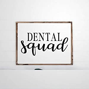 DONL9BAUER Framed Wooden Sign Dental Squad Wood Sign Dental Hygienist Wall Hanging Farmhouse Home Decor Wall Art for Living Room