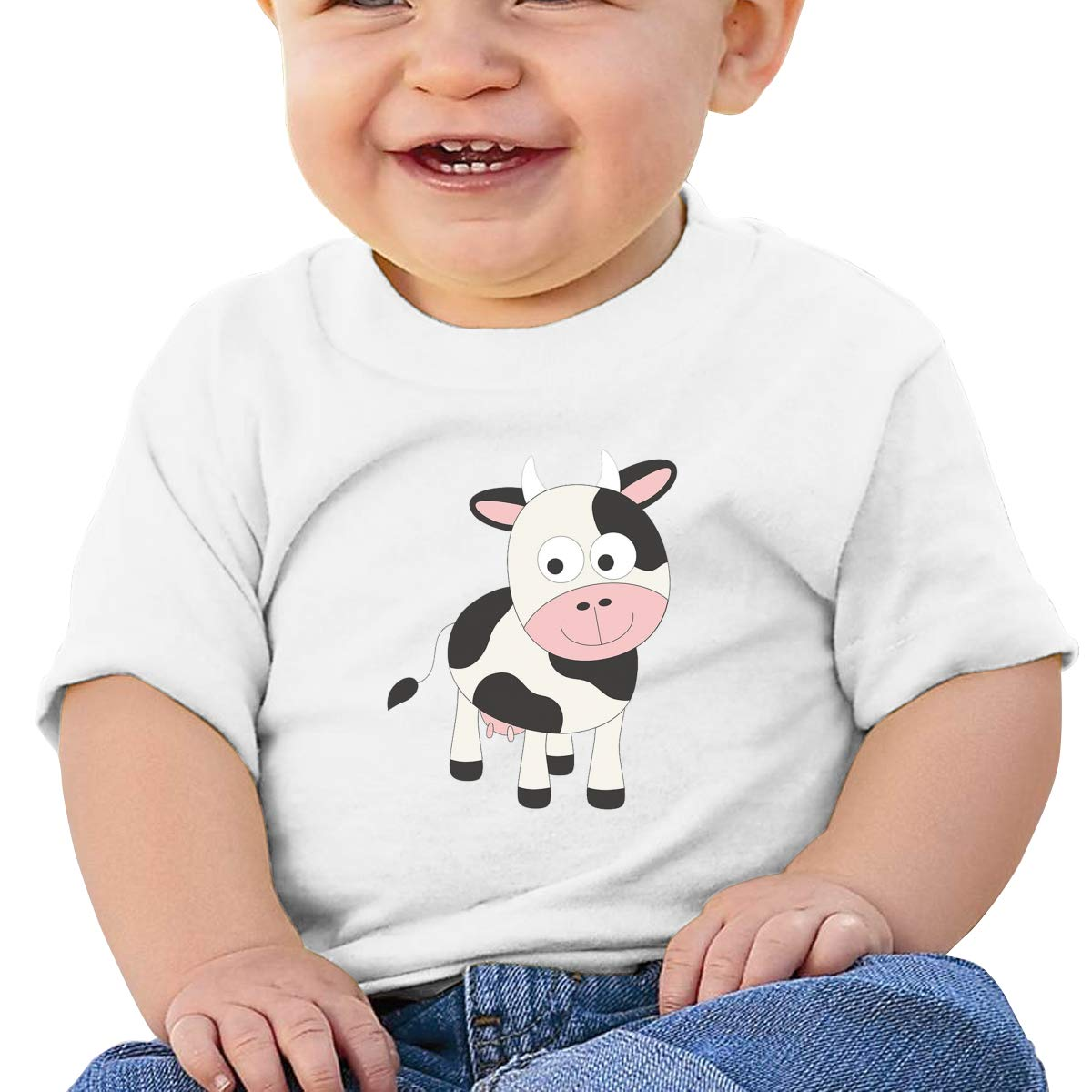 AiguanCute Cow Toddler//Infant Short Sleeve Cotton T Shirts White 46