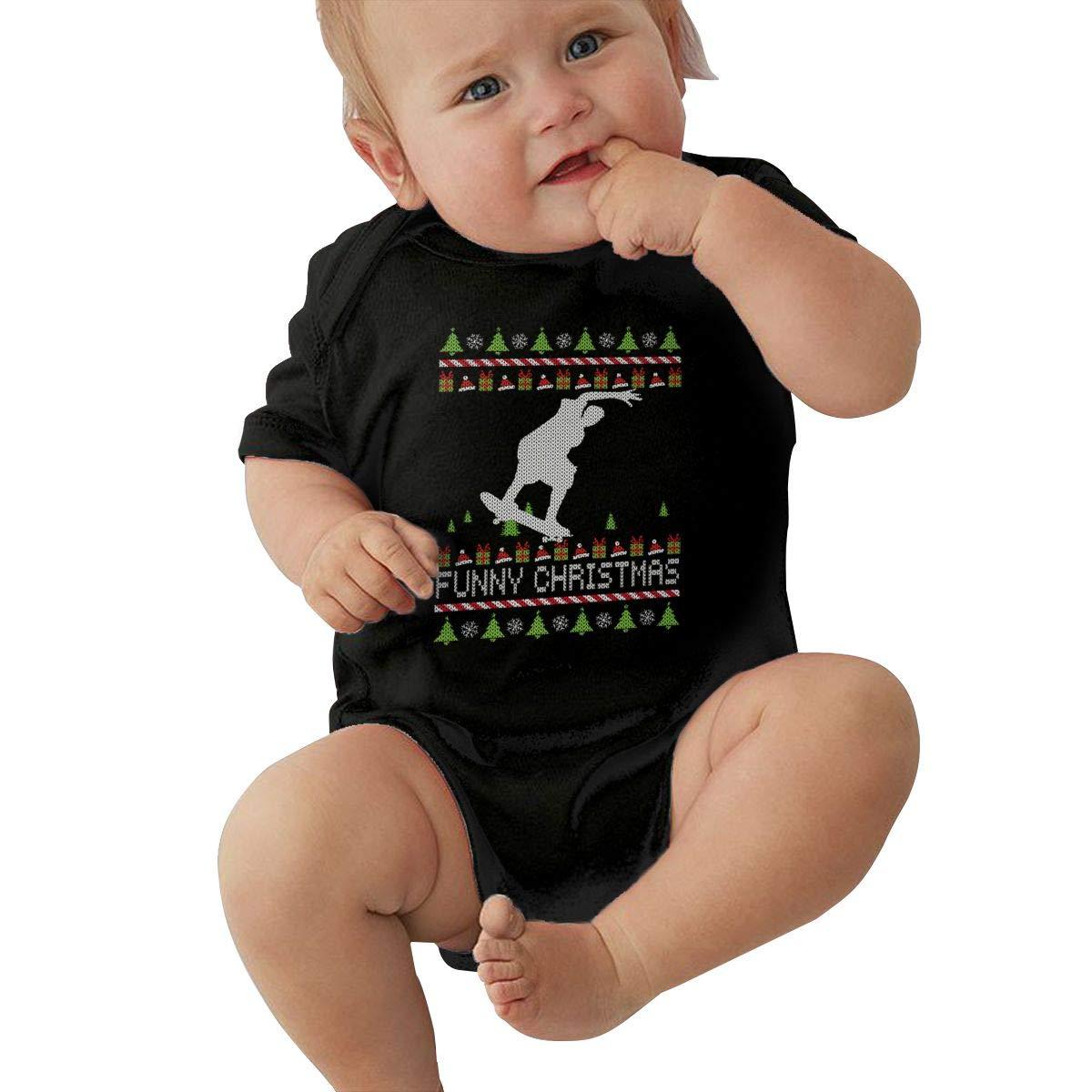 Skateboarder Funny Christmas Funny Summer Infant Baby Girl Boys Short Sleeve Bodysuit Romper Jumpsuit Shirt