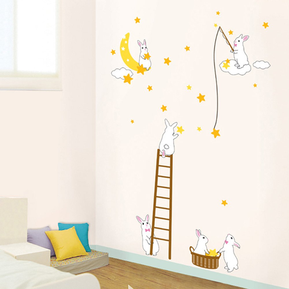 decowall dp 08165 rabbits in the moon wall stickers home art decowall dp 08165 rabbits in the moon wall stickers home art decoration wall stickers wall decals wall transfers wall tattoos wall sticker amazon co uk