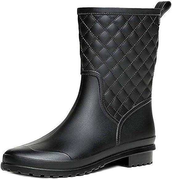 Bota Agua Mujer Jardín Trabajo Lluvia Botas Antideslizante Wellington Boots Negro 36: Amazon.es: Zapatos y complementos