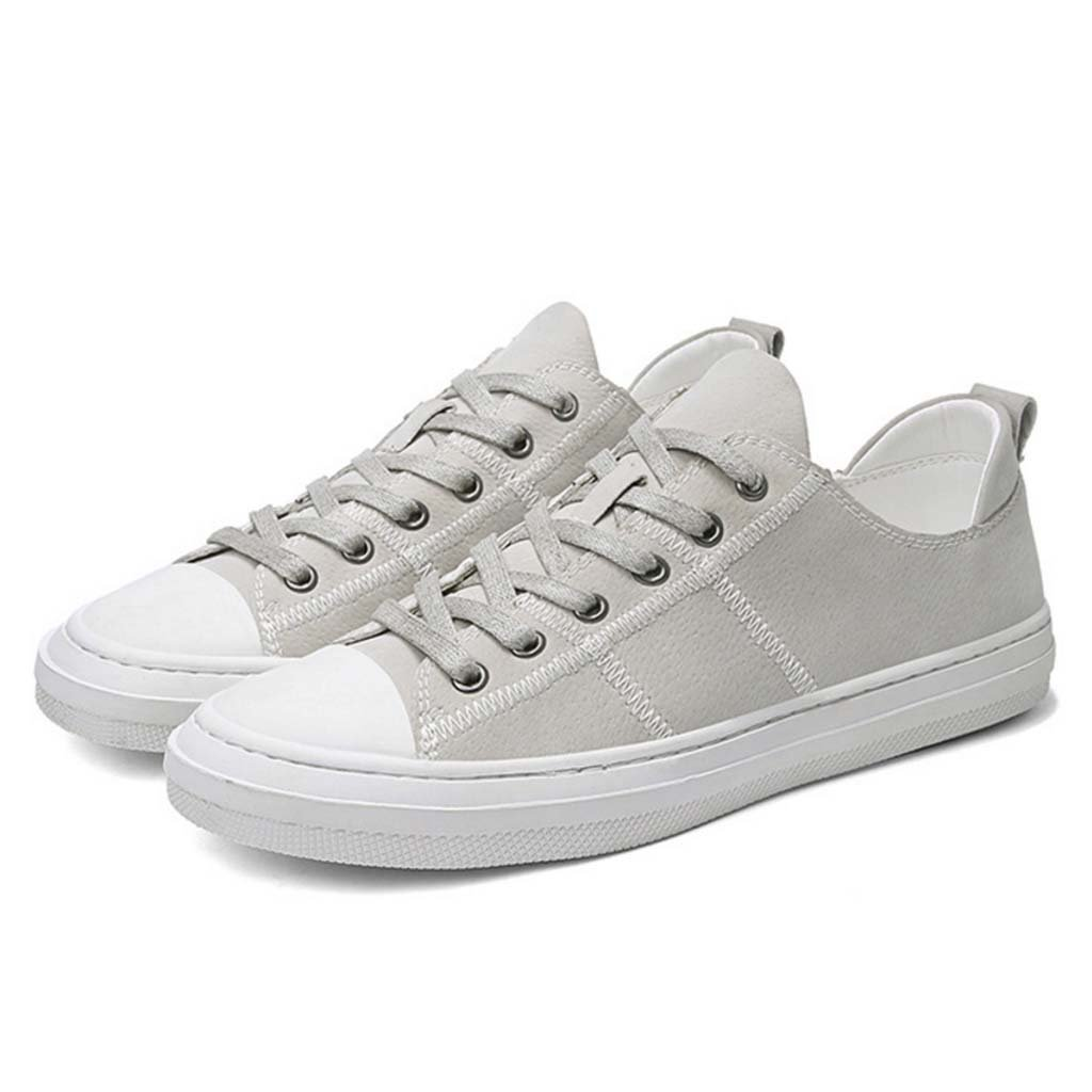 GAOLIXIA Zapatos de cuero casuales de los hombres de primavera y verano zapatillas planas con cordones zapatos para caminar zapatos de skate de moda (Color : Gray, tamaño : 40) 40|Gray