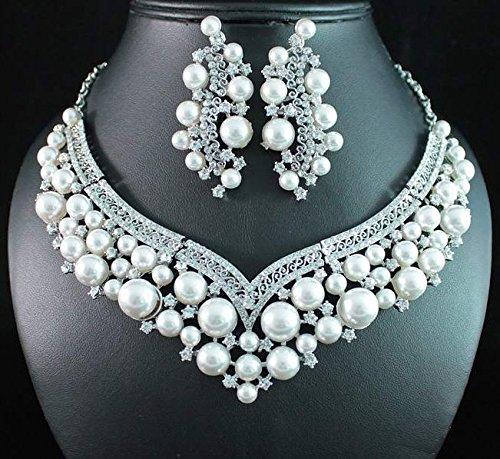 Janefashions Sexy Pearl Austrian Crystal Necklace Earrings Set Bridal Wedding N12127 White (Genuine Rhinestone Sexy)