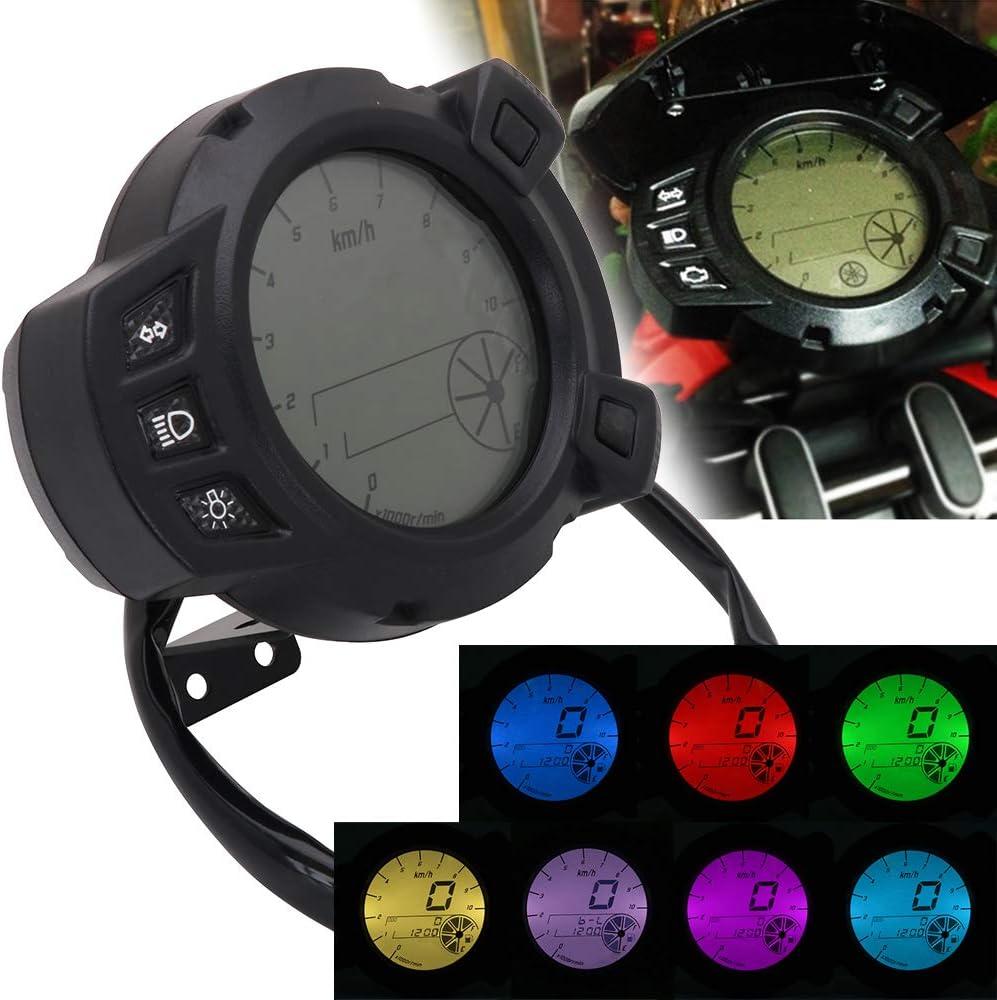 Compteur de Vitesse Universel 10000 RMP 7 Couleurs LCD pour Moto Yamaha BWS 125 Zuma BMK X125 YW125