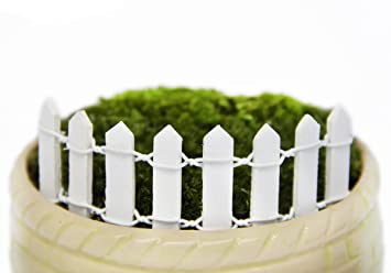 Vivian Mini Wood Picket Fence DIY Garden Miniature Landscape Dollhouse  Plant Pot Decor Set 4pcs (