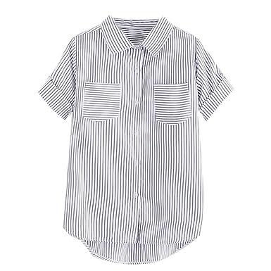 Gusspower Mujer Camisa de Rayas Manga Corta Camiseta de Bolsillo ...