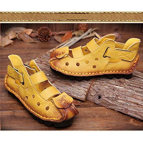 Piel Genuina El Cosido a Mano Suave Suela Zuecos Zapato Ultraligero Cómodo Sandalias Ajustable Ocio Verano Zapatillas Mujer Amarillo