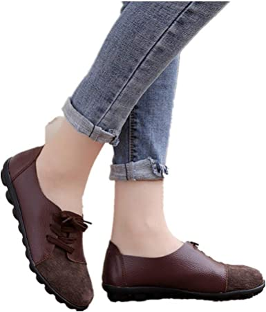 Womens Round Toe Cross Strap Buckle Flats Pull On Flats Shoes Lofers Boat Shoes