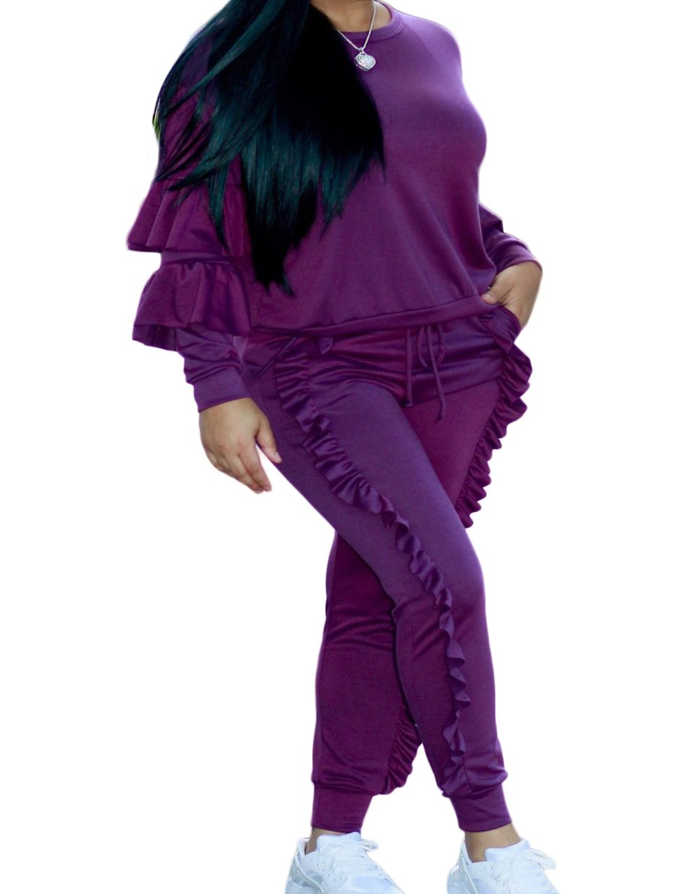 LAFASO Womens Two Piece Ruffle Jogger Long Sleeve Pants Tracksuit Purple M