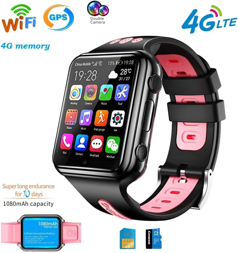 4G GPS Wifi Relojes Inteligentes Para Niños Reloj Deportivo Impermeable Para Teléfono Bluetooth Tracking Locator Despertador Chat De Voz Anti-Perdida Compatible Para Android E Ios Regalos ,Rosado