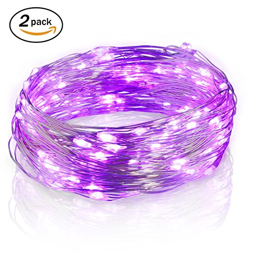 Firecore 2 Pack LED Copper Wire Lights ,16.4ft 50 Leds ,Waterproof Design for Outdoor Indoor, AA Battery Operated (Purple) Ultra Lite Pet Stairs