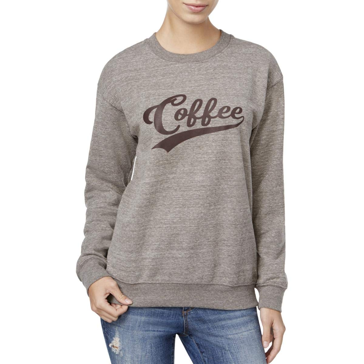 Suburban Riot Womens Coffee Fleece Graphic Sweatshirt Brown S
