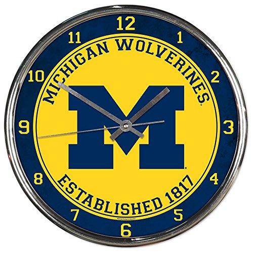 Michigan Wolverines NCAA 12 Inch Round Chrome Plated Wall (Michigan Wolverines Ncaa Wall)