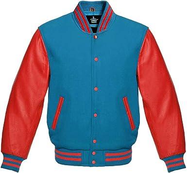 Letterman Baseball Varsity Jacket Red Wool /& Gray Genuine Leather Sleeves