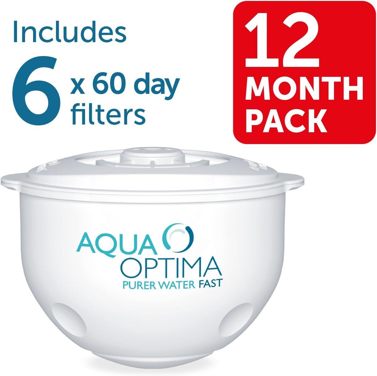 Pack annuel 12 mois Aqua Optima Galia Carafe Filtrante bleu 6 Cartouches de 60 Jours