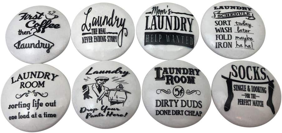 Set of 8 Black and White Laundry Room Cabinet Knobs